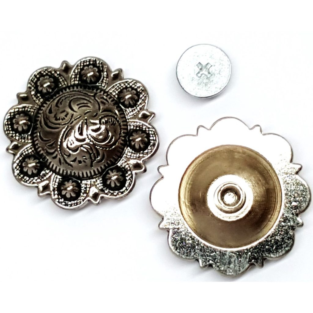 2 Pack 1 4 Round W Small Berries Antiqued Silver Engraved Concho Chicago Screw Saddles N Such