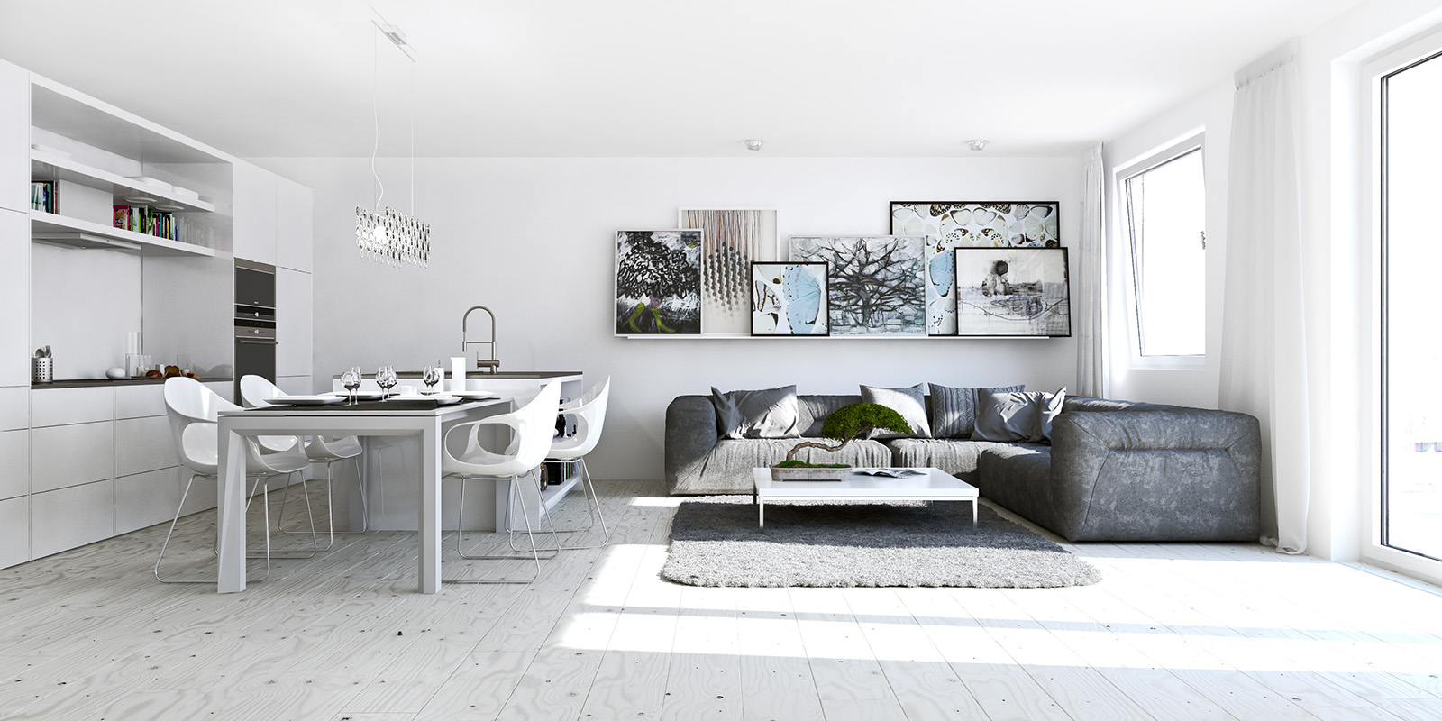 White Studio Apartments Showme Design