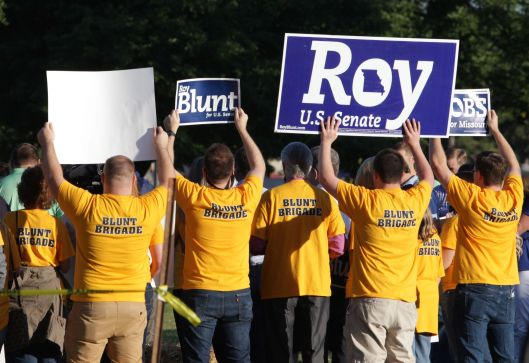 A rally with Senator Roy Blunt (r) outside the entrance to the Governor's Ham Breakfast at the Missouri State Fair in Sedalia - August 2015.