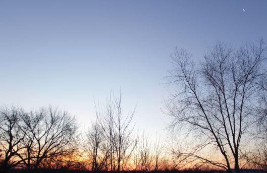 Sunrise and moon.