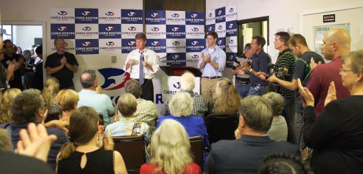 Chris Koster (D) (center left) and Stephen Webber (center right) in Columbia, Missouri - August 5, 2016. photo: Pablo Rodrigo Peres Lopes.