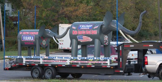 A Trump (r) float at the UCM Homecoming parade in Warrensburg - waiting to line up in the staging area.