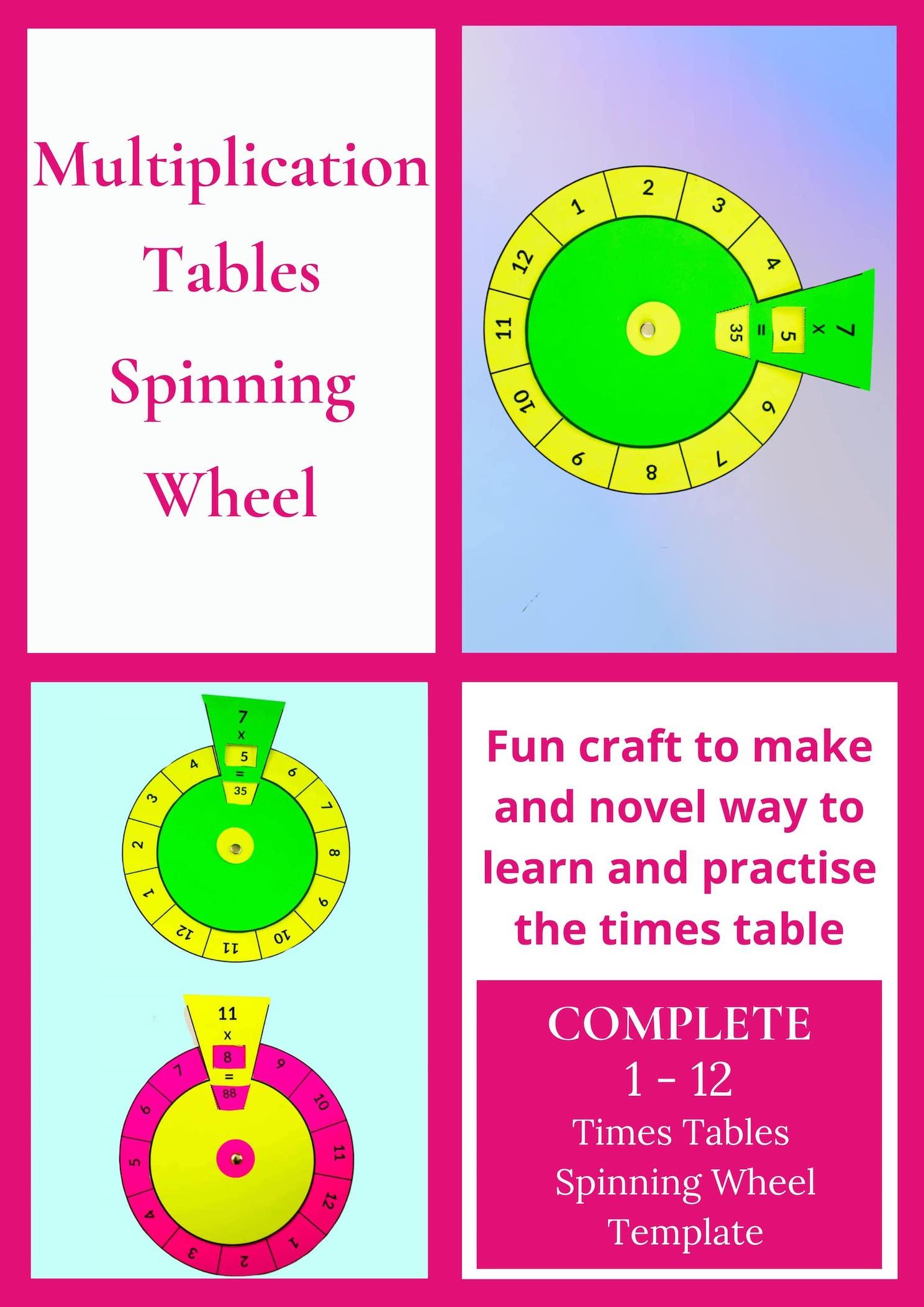 Multiplication Tables Spinning Wheels