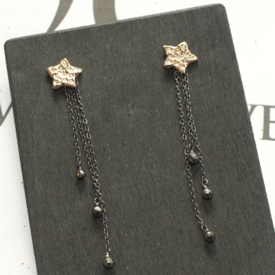 Rising Star Earrings Gold and Black