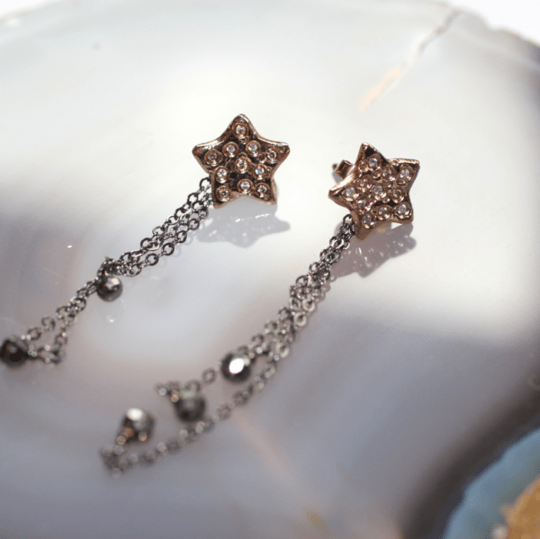 Rising Star Earrings Gold with Black Pyrite