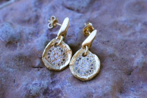 Ripple Effect diamond earrings Jewelry made from recycled 18k gold over sterling silver