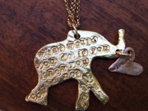 Lucky Elephant necklace Jewelry made from recycled silver, 14k gold and rose gold with one ethically sourced diamond