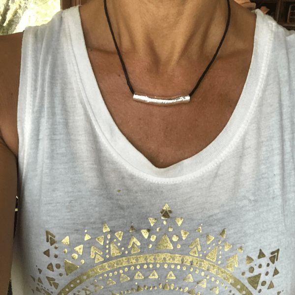 Direction silver necklace