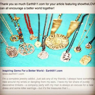 Thanks earth911 for featuring us! #earth911 #inspire #showthelovejewelry #betterworld