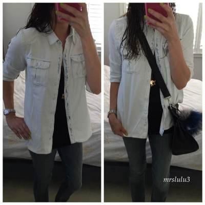 My denim on denim look… #paige denim shirt in a super light soft wash with a black tank and skinny jeans… Too skinny  sometimes I wonder why and when I bought these jeans cause they are always soooo tight!  Also trying to use my #jypsiere more as I neglected her the last few years… #gyt ️ #denimondenim #hermès #candccalifornia #showthelovejewelry #fendi #monster #denimlooks