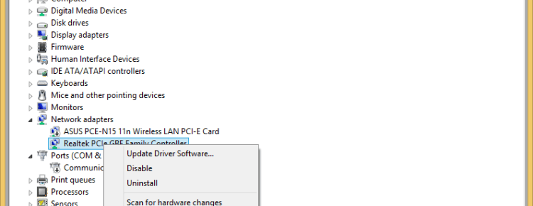 device manager right click network card