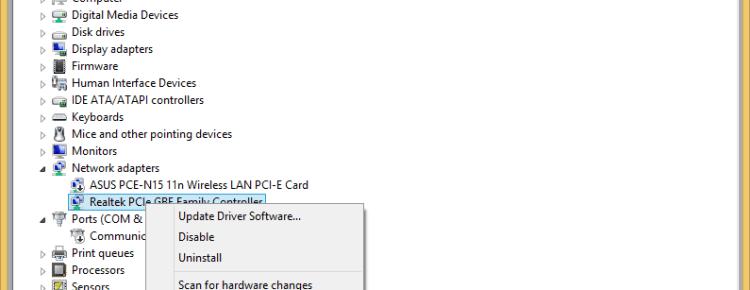Správce zařízení klikněte pravým tlačítkem myši síťová karta