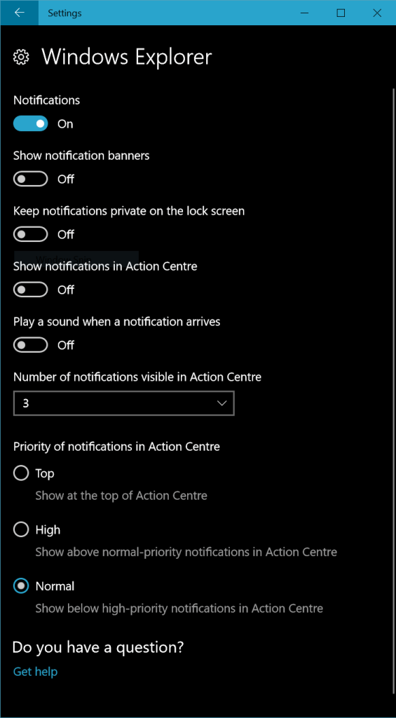 windows explorer notification settings in windows 10