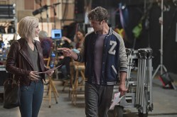 """iZombie -- """"Method Head"""" -- Image Number: ZMB210a_0004.jpg -- Pictured (L-R): Rose McIver as Liv and Zack Peladeau as Wyatt Carver/Cody -- Photo: Cate Cameron/The CW -- © 2015 The CW Network, LLC. All rights reserved."""