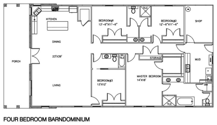 Barndominium floor plans with shop 4 bedroom design ideas