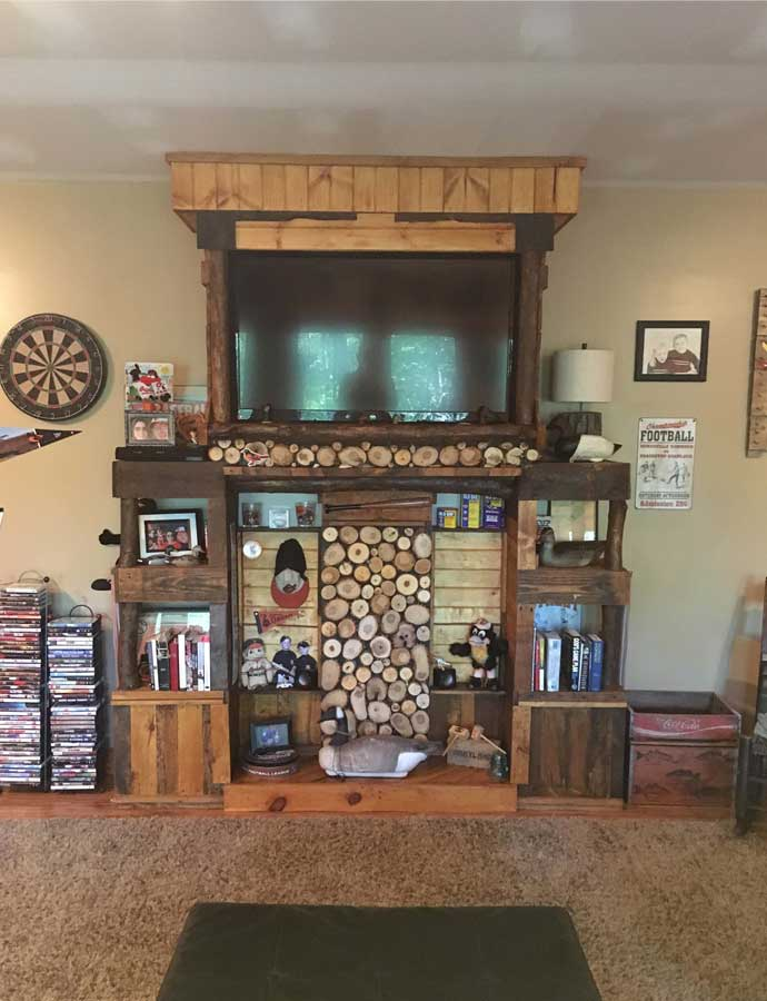 Pallet And Log Entertainment Center