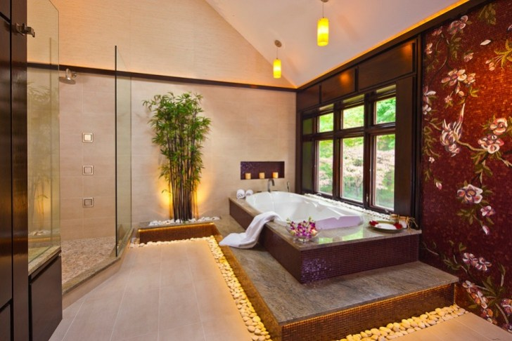 Asian Spa Bathroom With Decorative Walls