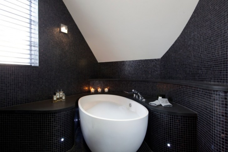 Black Wall and Floor Tiles Spa Bathroom