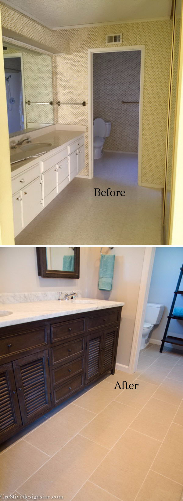 From Single Sink to Double Sink Small Bathroom Remodel Before After