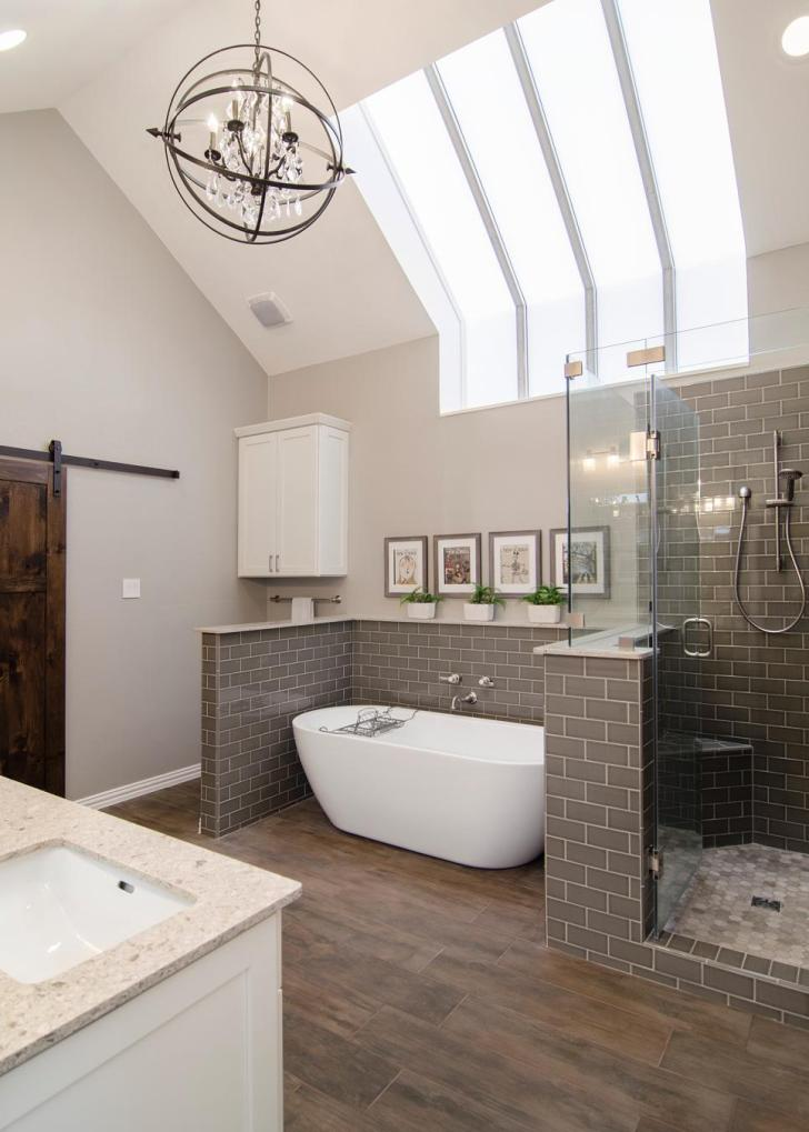 This beautiful spa bathroom combines unique details