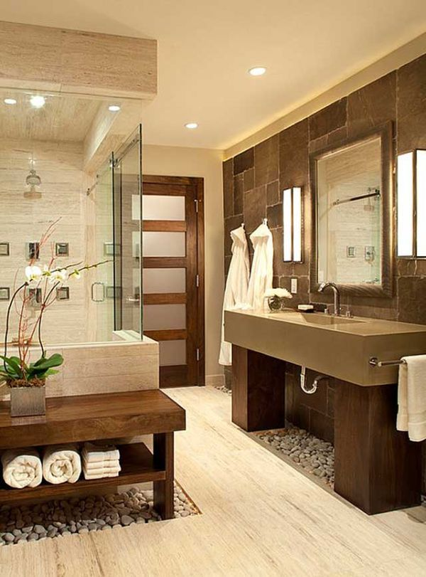 Warm neutral tones work together to create a clean color palette in this bathroom
