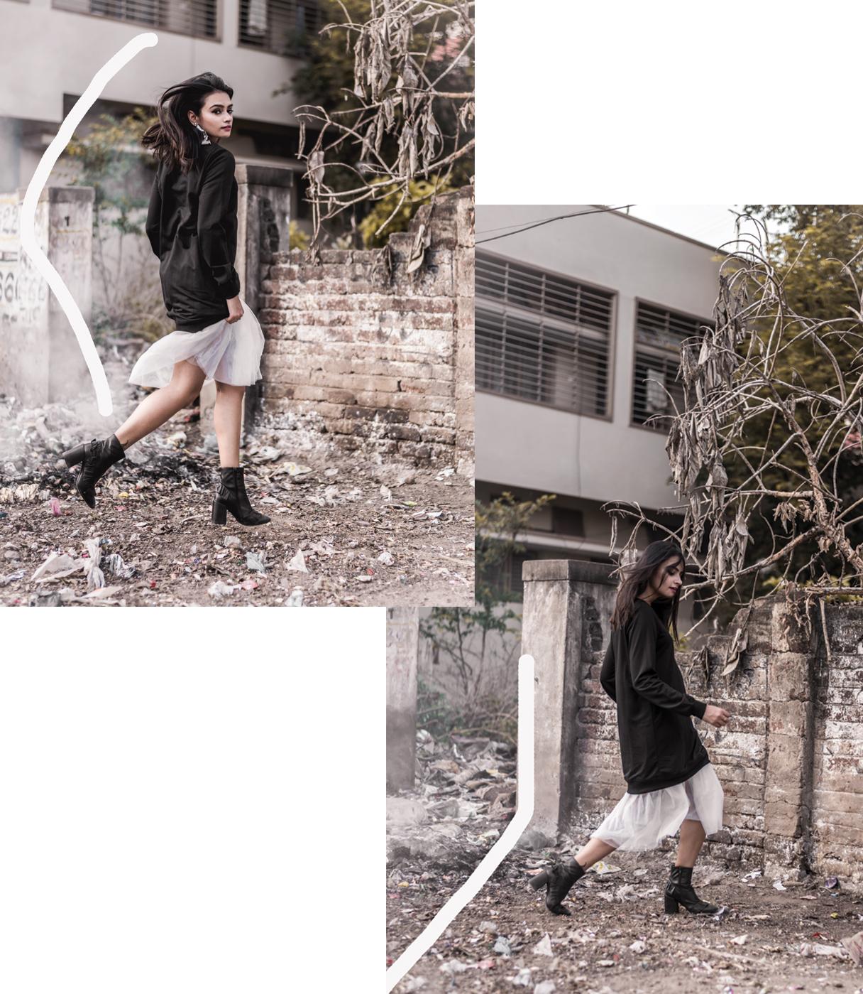 shradsblog black jumper white tulle skirt