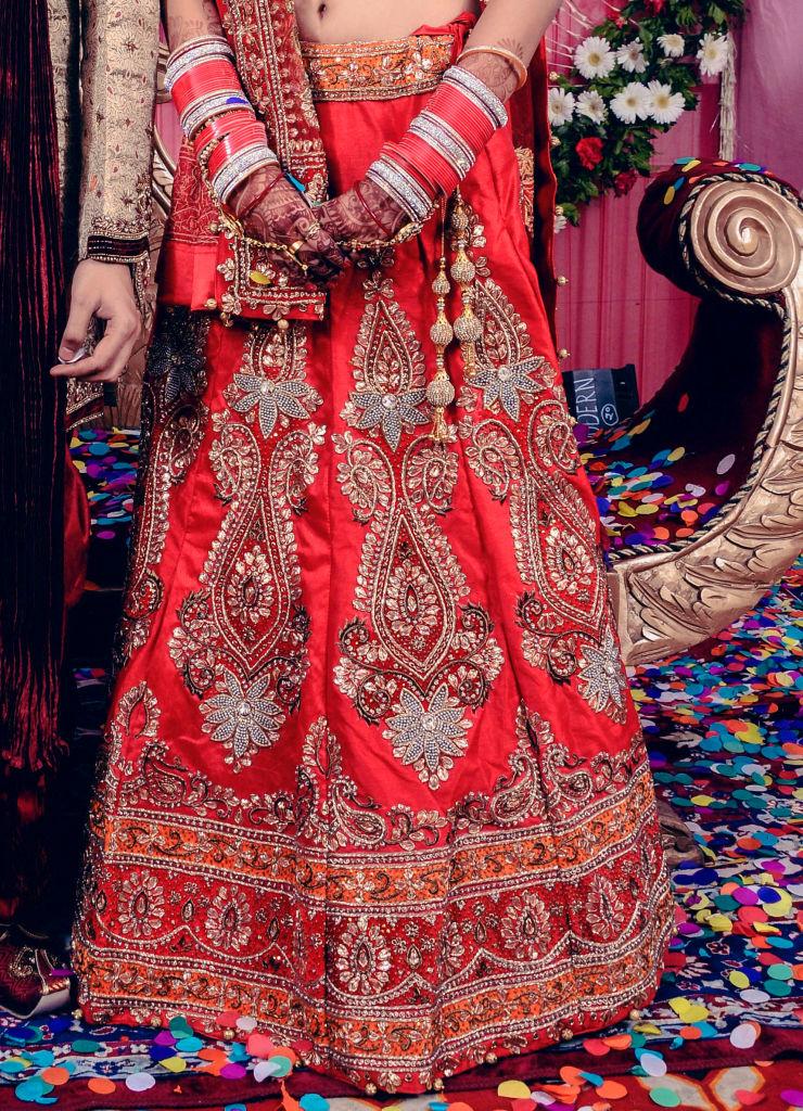 indian wedding bridal red lehenga