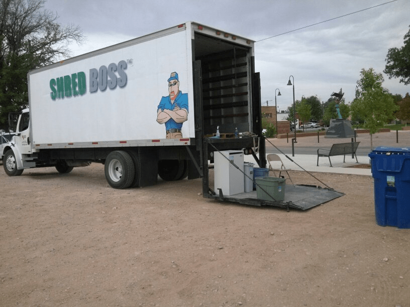 Shred Boss truck ready to receive paper for shredding