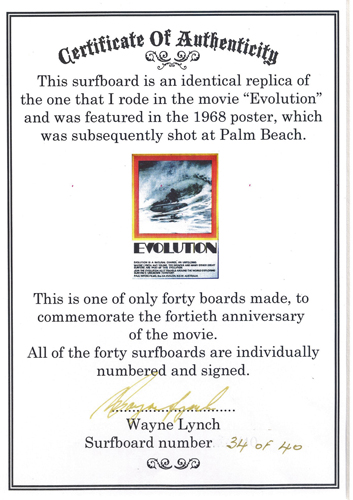 Certificate of Authenticity for the Evolution board re-issue. Pic via Rob's Surf Shack