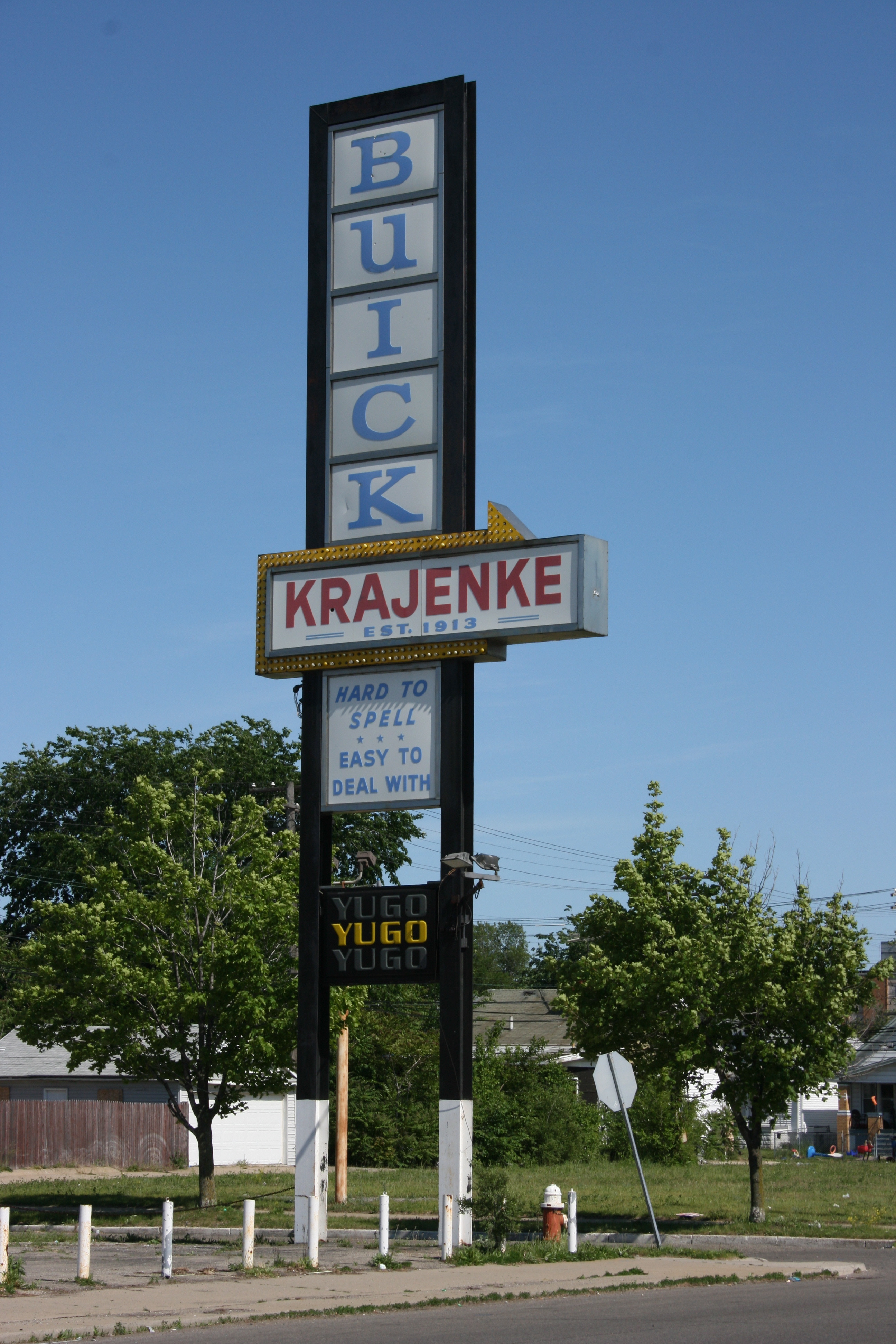 Krajenke Buick and Yugo, closed since 1992.