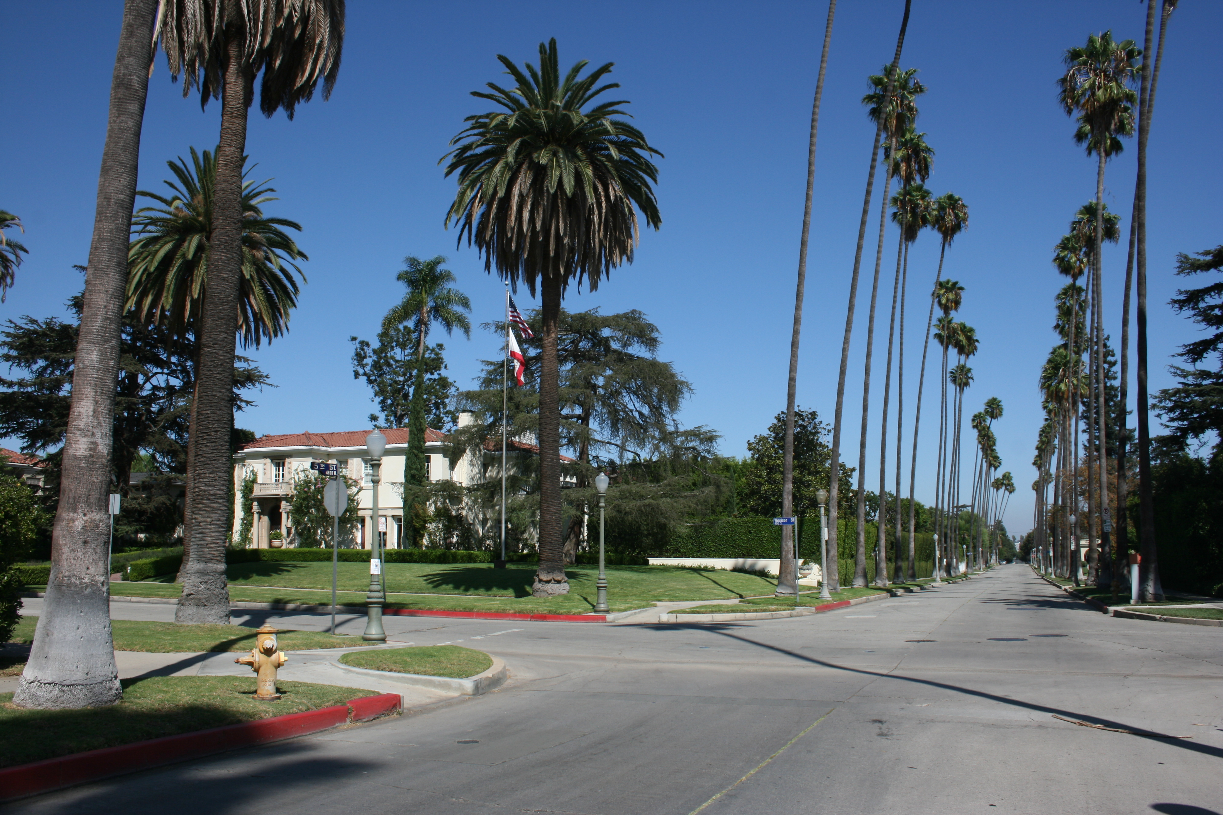 Windsor Square, with a skyline of palm trees