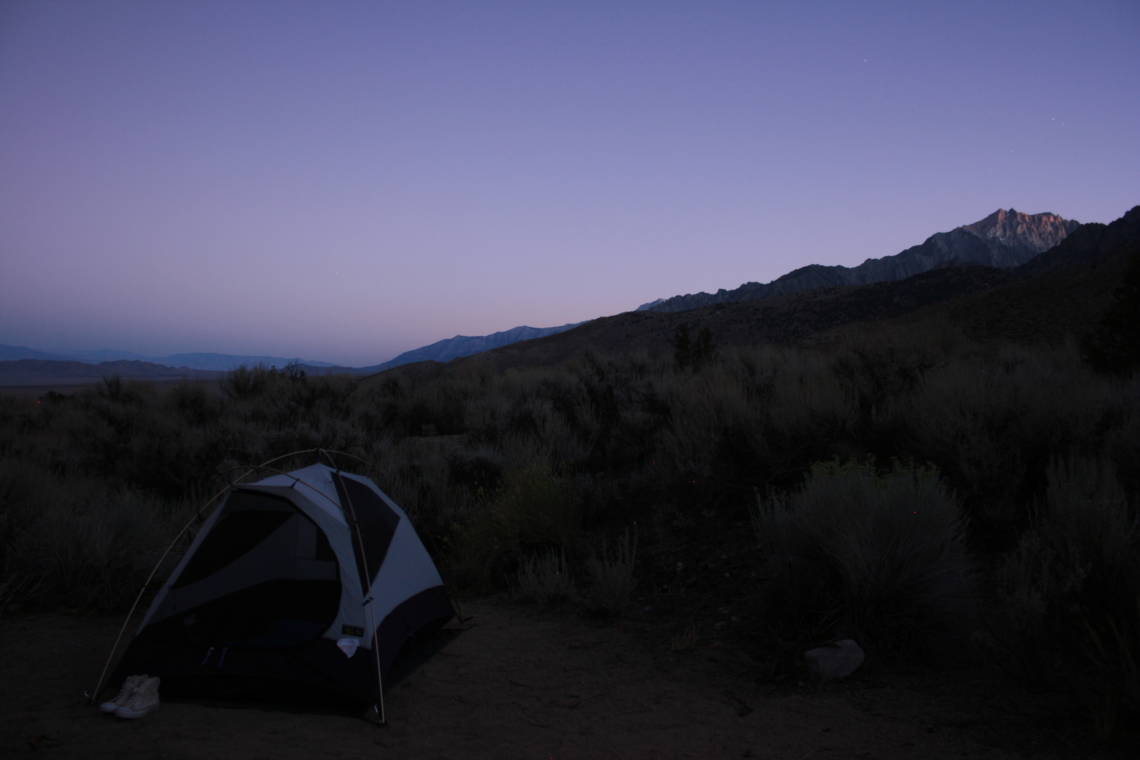 Early to bed, early to rise, camping near Independence