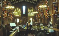 Larkhill church, Katy deciding percussion layout