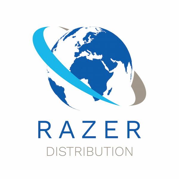 Razer Distribution logo, world in blue, white and grey
