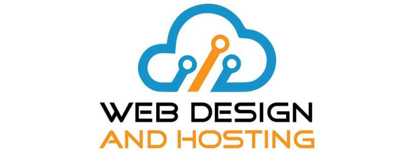 Web Design and Hosting image with blue and orange cloud