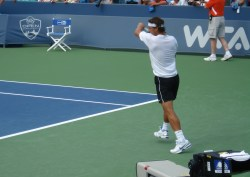 Western & Southern Open practice Rafael Nadal shoulder bite Rafa sweaty pictures