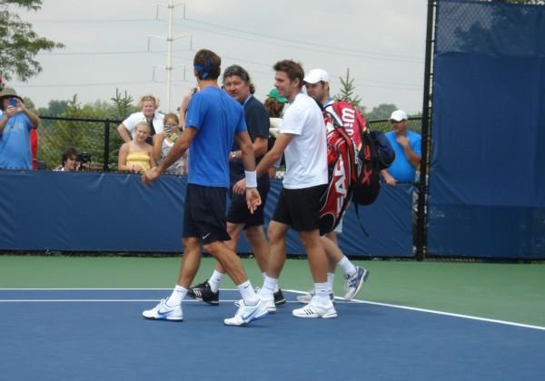Roger Federer Stan Wawrinka Cincinnati Open practice Monday images photos pictures blue shirt