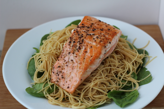 Spaghetti with Lemon, Basil, and Salmon