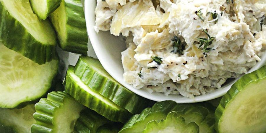 Artichoke Dip with Cucumbers