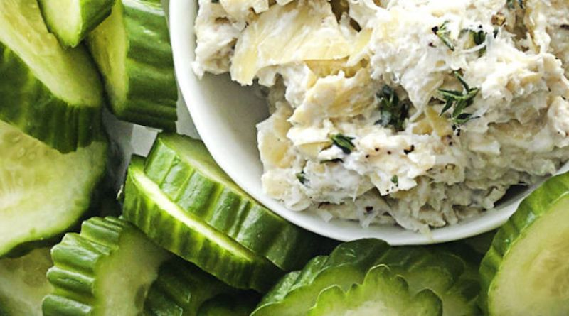 Artichoke Dip with Cucumbers