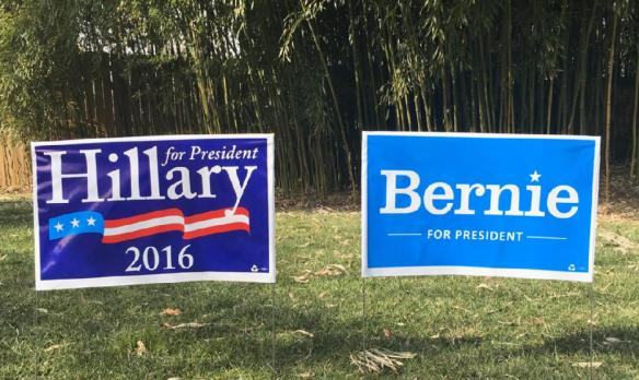 Bernie and Hillary signs