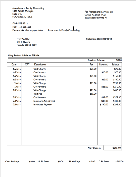 Simple patient billing statement