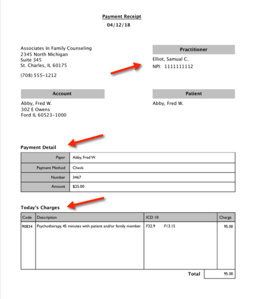 Patient super bill payment receipt