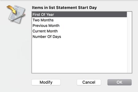 Statement Begin Date Choices
