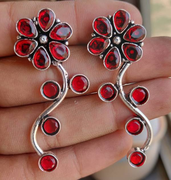German Silver Stone Earrings - Red