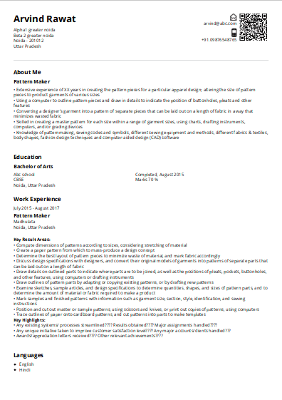Pattern Makers Resume Sample Ready To Use Example Shriresume