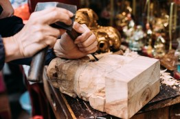 The wooden religious figure carving is on the list on the intangible cultural heritage in Hong Kong.