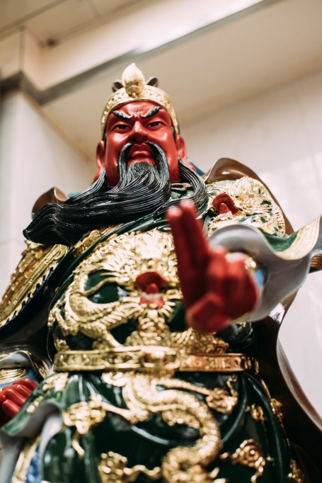 Guan Yu is one of the famous figures worshipped by the Chinese. In Hong Kong, statues of Guan Yu can be found in police offices.