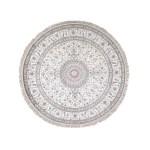 9 1 X9 1 Round Silken Esfahan 250 Kpsi Ivory Hand Knotted Oriental Rug