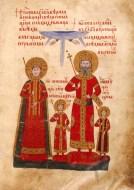 Цар Иван Александър със семейството си. Миниатюра от Лондонското евангелие на Иван-Александър.